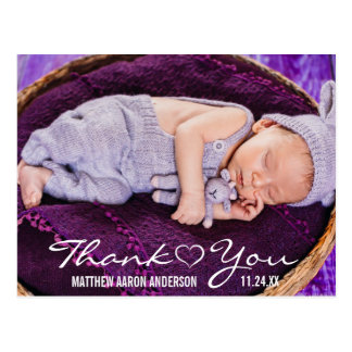 New Baby Modern Photo Thank You Heart Postcard