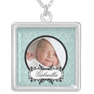 New Baby Necklace Photo Black Blue Damask Pendant