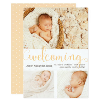 New Baby Photo Announcement Elegant Shades of Gold