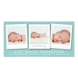 New Baby Photo Card | Multiple Photos | Teal