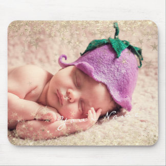 New Baby Photo Golden Confetti Stars Framed Mouse Pad