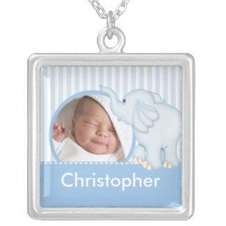 New Baby Photo Necklace Cute Boy Blue Elephant