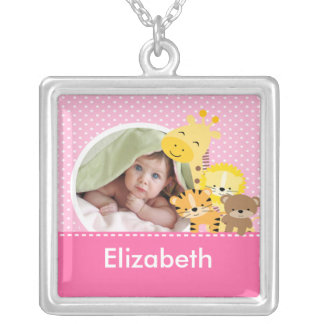 New Baby Photo Necklace Cute Girl Jungle Animals