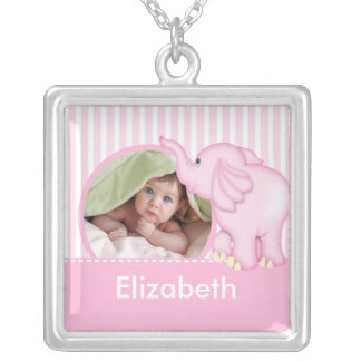 New Baby Photo Necklace Cute Girl Pink Elephant
