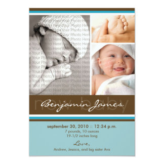 New Baby Photo Trio Birth Announcement (blue)