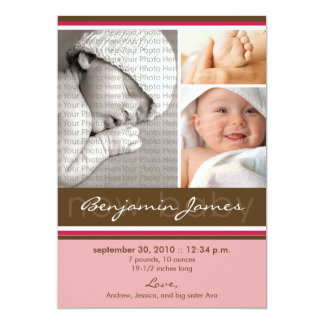 New Baby Photo Trio Birth Announcement (pink)