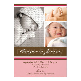 New Baby Photo Trio Birth Announcement pink