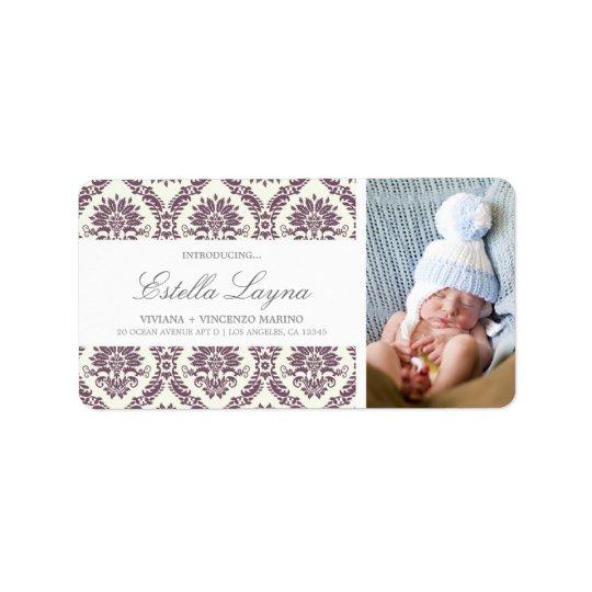 NEW BABY PURPLE DAMASK | ADDRESS LABELS