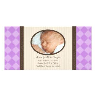 New Baby Purple Decor Plaid Birth Photo Card