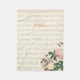 New Baby Rose Flower Fleece Blanket Monogram