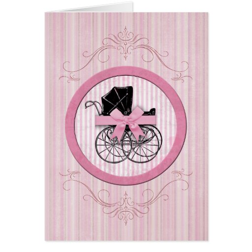 New Baby Shabby Chic Vintage Pink Greeting Card