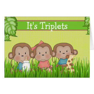 New Baby Triplet Two Boys One Girl Cute Monkey Card