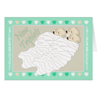 New Baby Triplets Gender Neutral Card