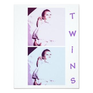 New Baby Twins 11 Cm X 14 Cm Invitation Card