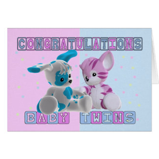 New Baby Twins Congratulations Card