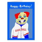 New Baseball Dog Kids Sports Birthday Card Gift
