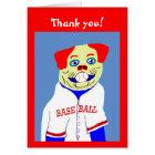New Baseball Dog Kids Sports Thank You Note Gift Card