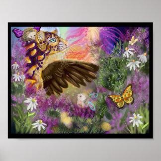 New Beginnings Winged Ocelot Fantasy Art Poster