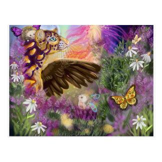 New Beginnings Winged Ocelot Fantasy Postcard