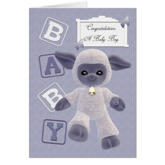 new born baby boy congratulations with lamb greeting card
