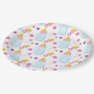 New born girl 9 inch paper plate