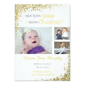 New Born Kisses Baby Announcement