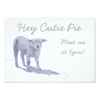 New born lamb pencil sketch 13 cm x 18 cm invitation card