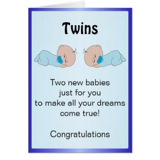 New Born Twin Boys Customized Greeting Card