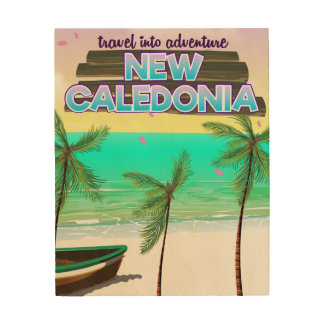 "New Caledon ""travel into adventure"" travel poster. Wood Wall Art"