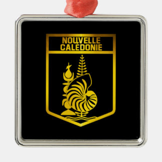 New Caledonia Emblem Silver-Colored Square Decoration