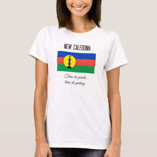 New Caledonia, Flag and Motto (Fr) T-Shirt