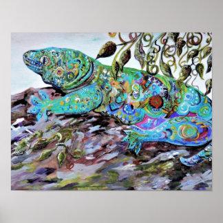 New Caledonia Lizard Art Deco Style Poster