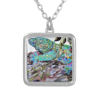 New Caledonia Lizard Art Deco Style Silver Plated Necklace