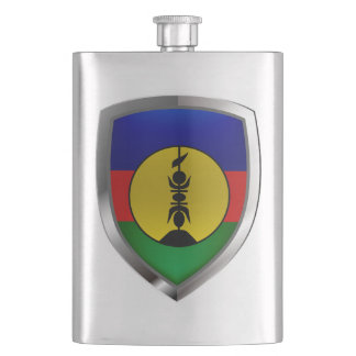 New Caledonia Metallic Emblem Hip Flask