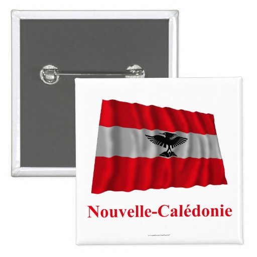 New Caledonia Waving Flag with Name in French Button