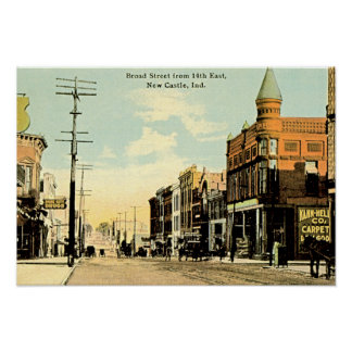 New Castle Indiana Broad Street at 14th Poster