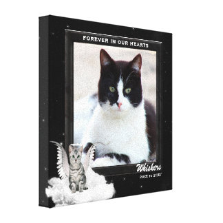 New! Cat Pet Memorial with Photo, Name and Years Canvas Print