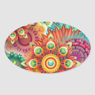 New Colorful Abstract BackGround Oval Sticker