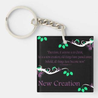 New Creation Single-Sided Square Acrylic Key Ring