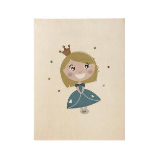 New! Cute vintage princess on wood canvas Wood Poster