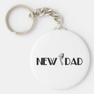New Dad Basic Round Button Key Ring
