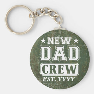 New Dad Crew (Est. Year Customizable) Basic Round Button Key Ring