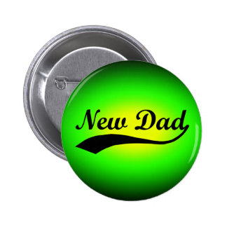 New Dad, Neon Green/Black 6 Cm Round Badge