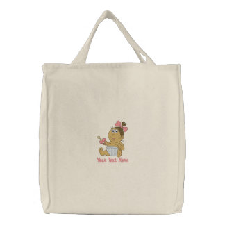 New Dad  or Mom - Girl Embroidered Tote Bag