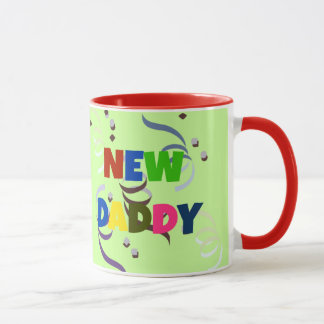 """NEW DADDY"" in colorful lettering Mug"