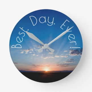 New Day Dawning Sunrise Round Clock