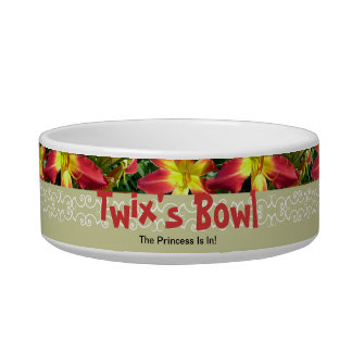 New Day Gardens Cat Dish-Daylily AAA Twix Pet Food Bowl
