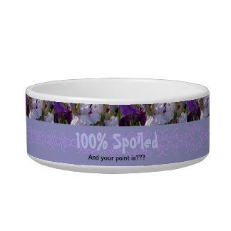 "New Day Gardens Pet Dish- Iris ""100% Spoiled"" Pet Water Bowl"