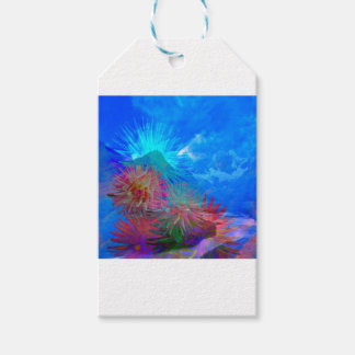 New day is coming up among flowers. gift tags