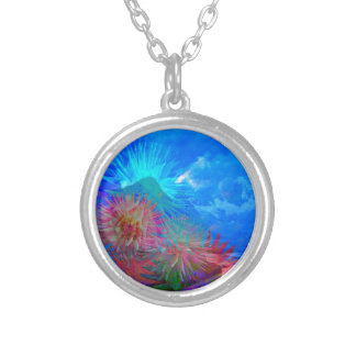 New day is coming up among flowers. silver plated necklace